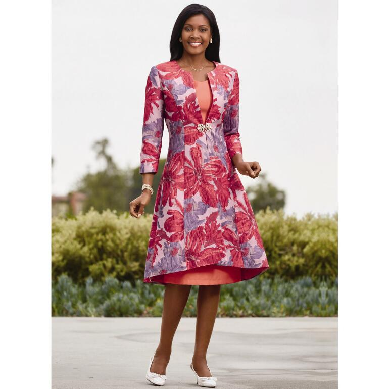 Paradise Jacquard Jacket Dress Suit by EY Signature