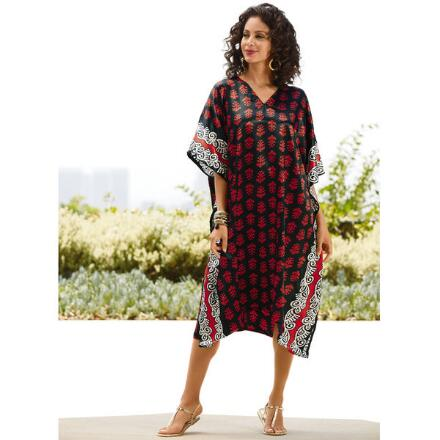 Step & Repeat Print Silky Short Caftan by EY Signature