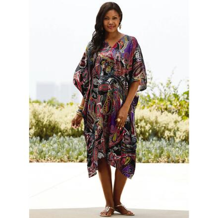 Pretty Paisley Print Silky Short Caftan by EY Signature