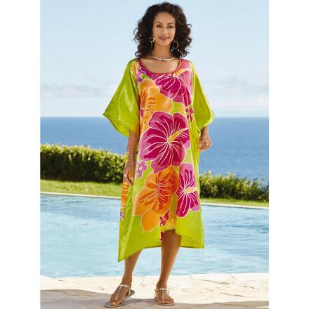 Hello Hawaii Print Silky Short Caftan by EY Signature