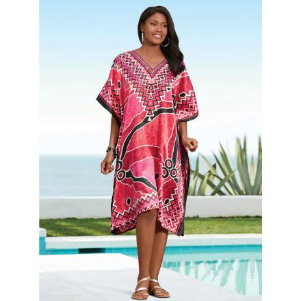 Desert Rose Print Silky Short Caftan by EY Signature