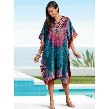 Ombré Filigree Print Silky Short Caftan by EY Signature