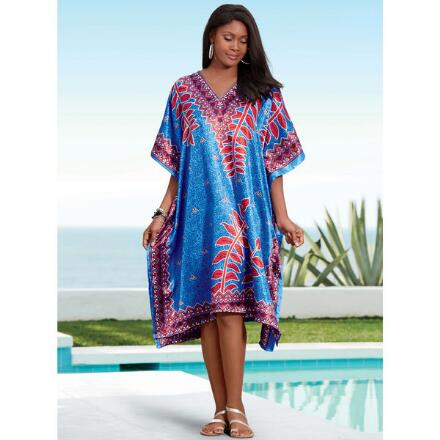 On the Vine Print Silky Short Caftan by EY Signature