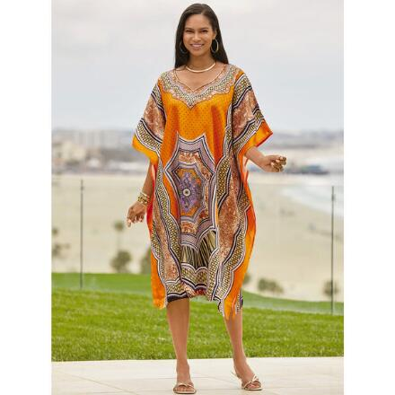 Sun Swirl Print Silky Short Caftan by EY Signature