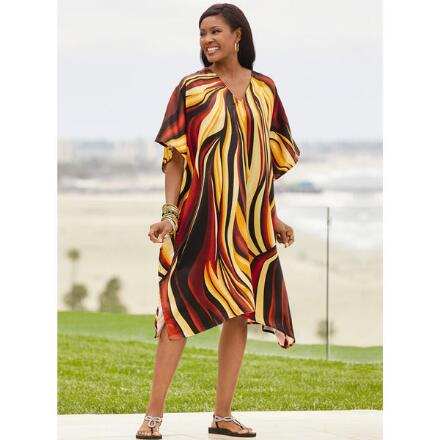 Flame Print Silky Short Caftan by EY Signature