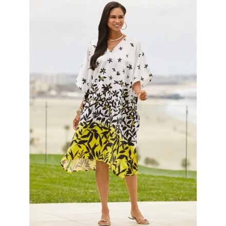 Crazy Daisy Print Silky Short Caftan by EY Signature