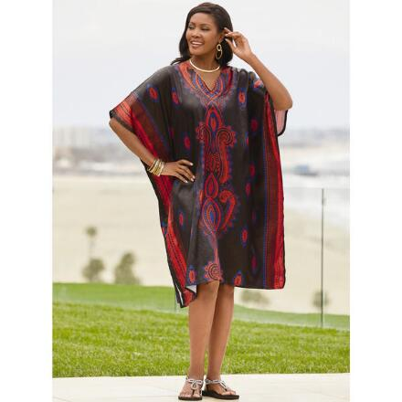 Classique Print Silky Short Caftan by EY Signature