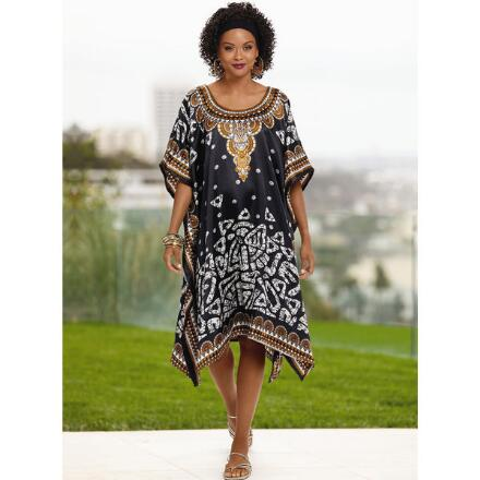 Tribal Mix Print Silky Short Caftan by EY Signature