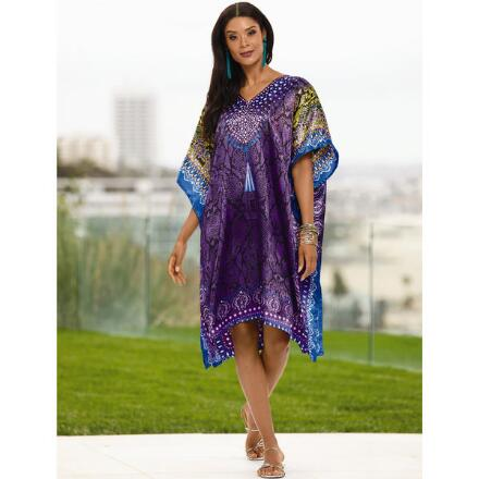 Cool Cobra Print Silky Short Caftan by EY Signature