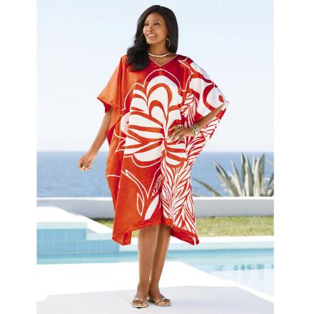 Maui Print Silky Short Caftan by EY Signature