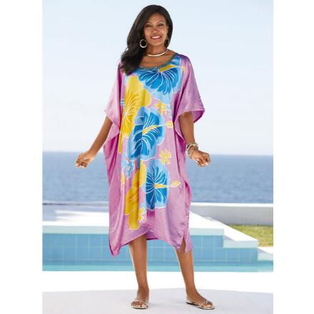 Tropique Print Silky Short Caftan by EY Signature