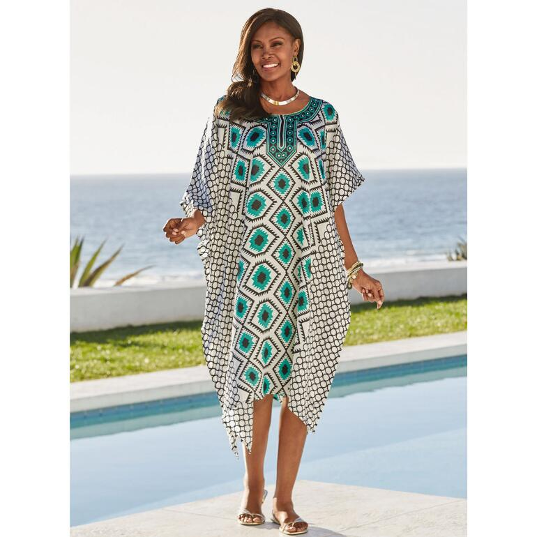 Teal Geo Print Silky Short Caftan by EY Signature