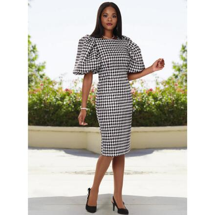 Houndstooth Puff-Sleeve Dress by EY Boutique