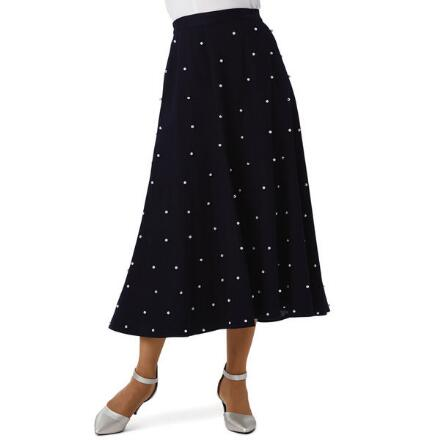 A World of Pearls Denim Skirt by Studio EY