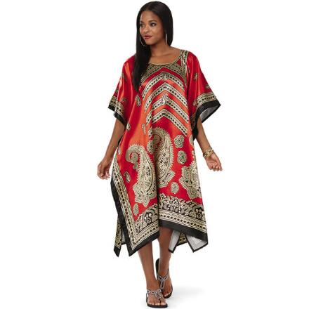 Opulence Print Silky Short Caftan by EY Signature