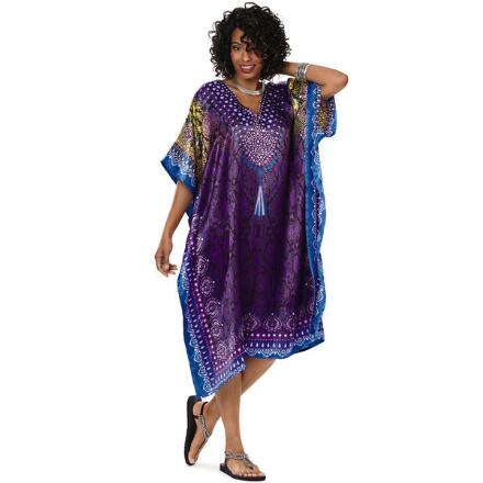 Cool Cobra Print 2 Silky Short Caftan by EY Signature