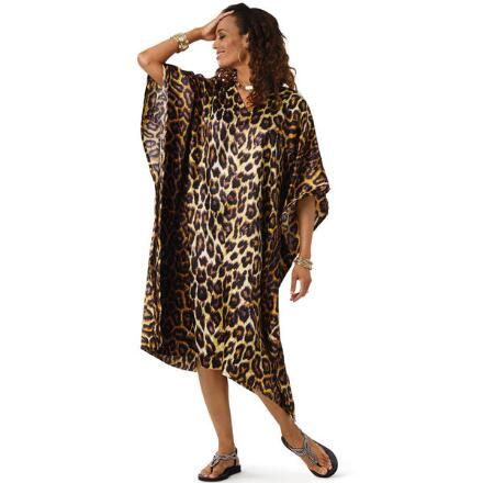 Leopardess Print 2 Silky Short Caftan by EY Signature
