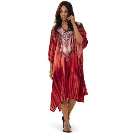 Ablaze Print Silky Short Caftan by EY Signature