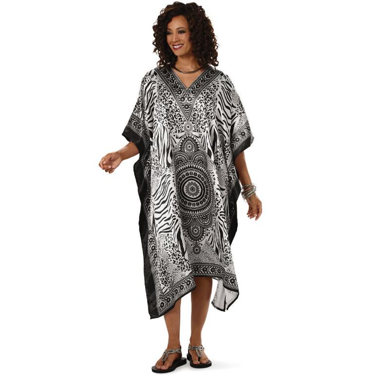Richly Mixt Print Silky Short Caftan by EY Signature