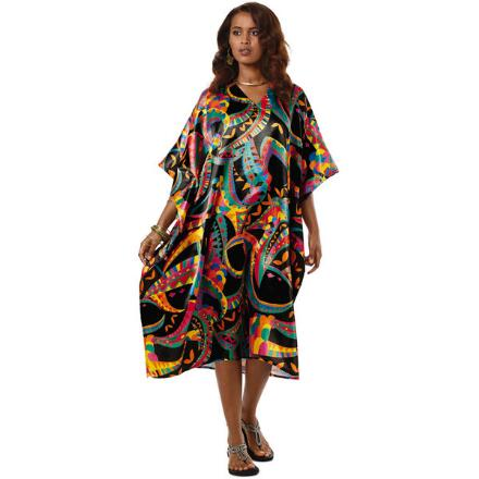 Carnival Print Silky Short Caftan by EY Signature