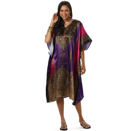 Zanzibar Print Silky Short Caftan by EY Signature