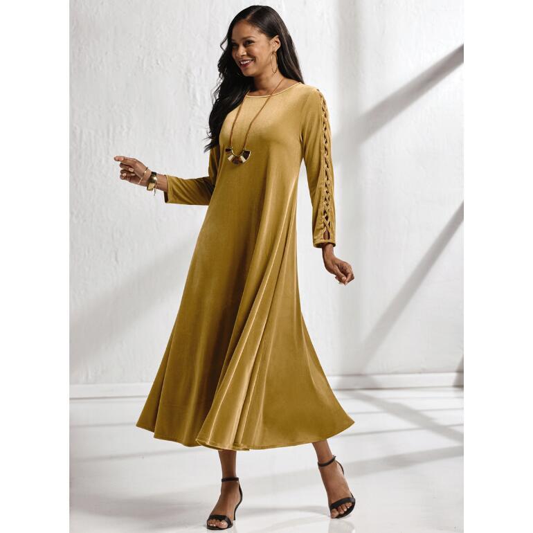 Touch of Luxury Velvet Ladder-Sleeve Dress by Studio EY