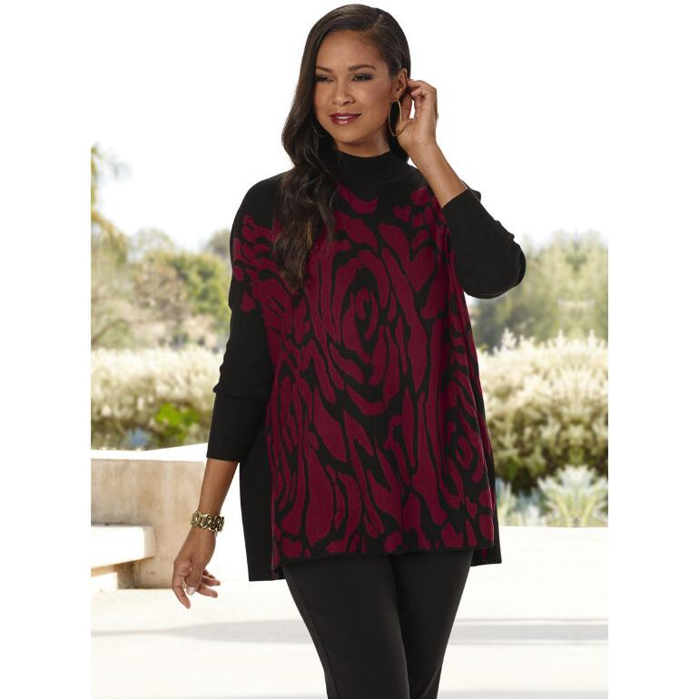Smell the Roses Sweater Poncho by THE LOOK