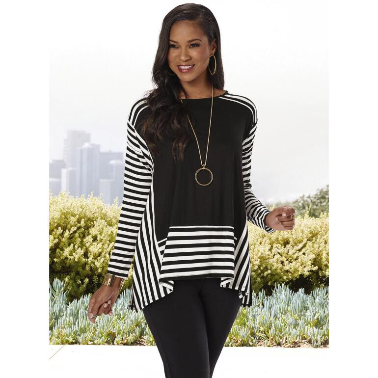 Stripe It Rich Tunic by Cable & Gauge