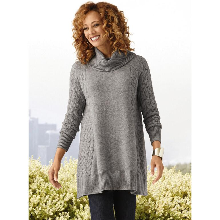 Cable Connection Sweater Tunic by THE LOOK