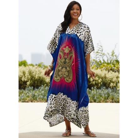 Wild Mix Print Silky Long Caftan by EY Signature