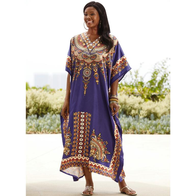 Purple Reign Print Silky Long Caftan by EY Signature