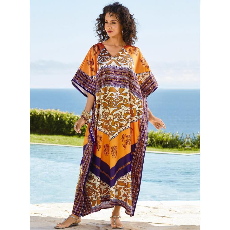 Casbah Print Silky Long Caftan by EY Signature