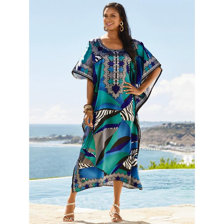 Hint of Wild Print Silky Long Caftan by EY Signature