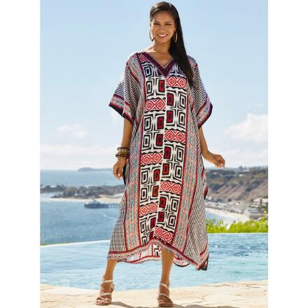 Geo Contast Print Silky Long Caftan by EY Signature