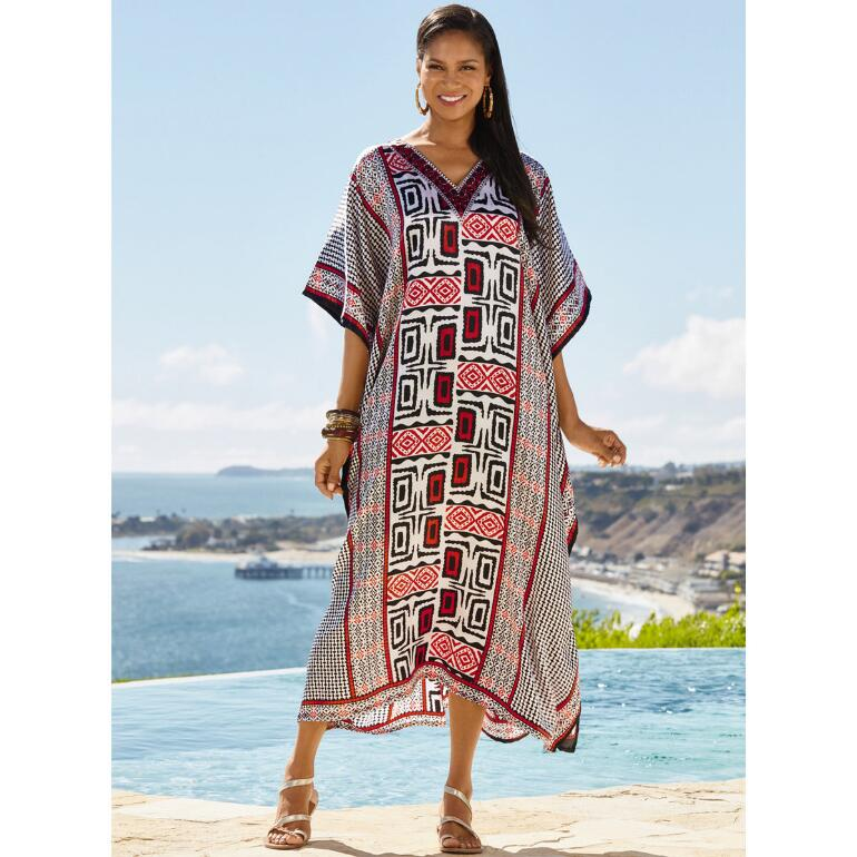 Geo Contrast Print Silky Long Caftan by EY Signature