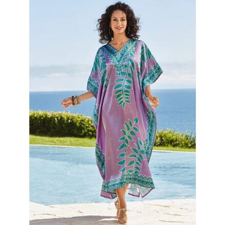 Vivid Vines Print Silky Long Caftan by EY Signature
