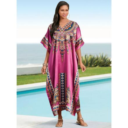 Xanadu Print Silky Long Caftan by EY Signature