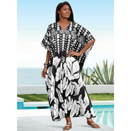 Duotone Diva Print Silky Long Caftan by EY Signature