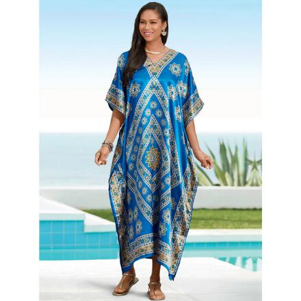 Diamond Sky Print Silky Long Caftan by EY Signature