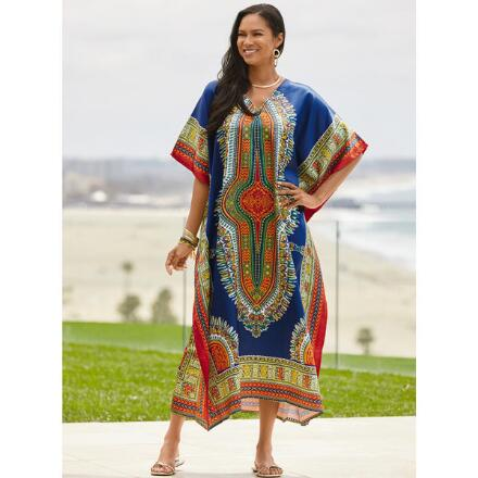 Near East Print 2 Silky Long Caftan by EY Signature