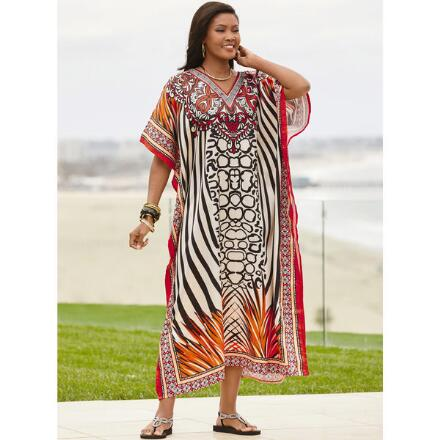 Go Wild Print Silky Long Caftan by EY Signature