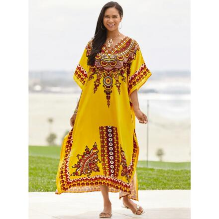 Xanadu Print 2 Silky Long Caftan by EY Signature