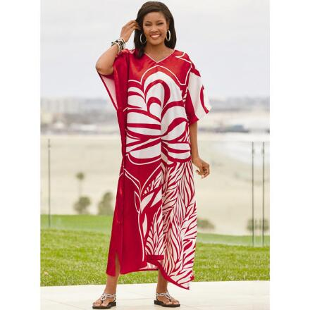 Aloha Print Silky Long Caftan by EY Signature