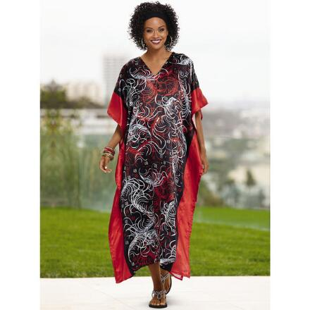 Flourish Print Silky Long Caftan by EY Signature