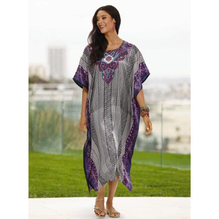 Geo Stripe Print Silky Long Caftan by EY Signature