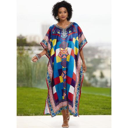 Medley Print Silky Long Caftan by EY Signature