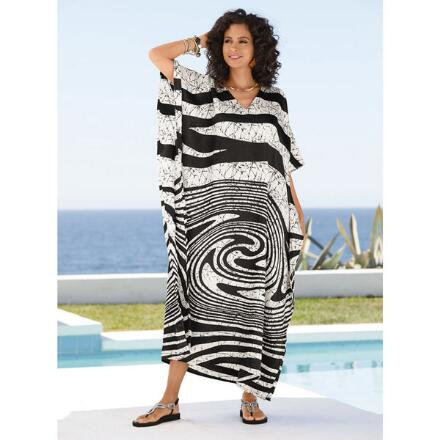 Swirl Print Silky Long Caftan by EY Signature