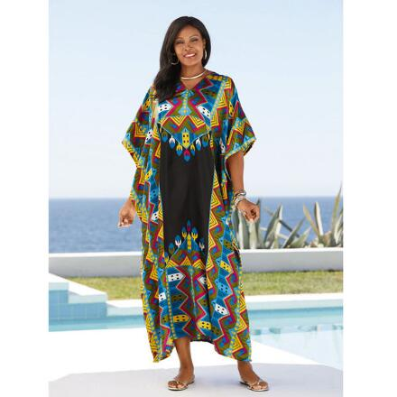 Geo-Centric Print Silky Long Caftan by EY Signature