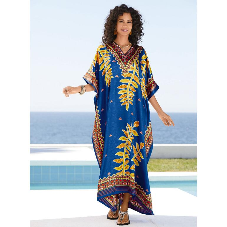 Gold Vines Print Silky Long Caftan by EY Signature