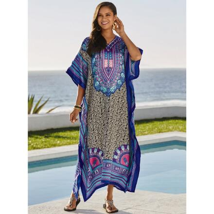 Patternista Print Silky Long Caftan by EY Signature